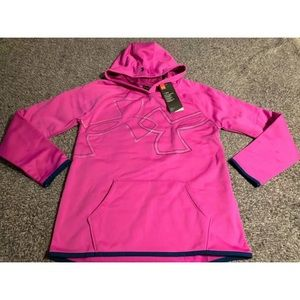NWT Girls Youth Under Armour Dual Logo Hoodie